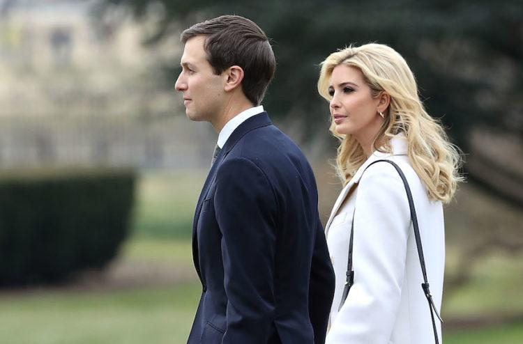 WASHINGTON, DC - FEBRUARY 17: Ivanka Trump walks with her husband, White House Senior Advisor Jared Kushner, toward Marine One while departing with her father President Donald Trump on February 17, 2017 in Washington, DC. President Trump is traveling to South Carolina to visit the Boeing plant. (Photo by Mark Wilson/Getty Images)